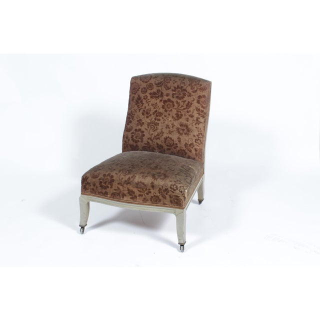 Floral Upholstered Low Side Chair Napoleon III For Sale - Image 11 of 11