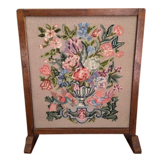 "Victorian Needlepoint Fire Screen With 1 ¼"" Wood Frame For Sale"