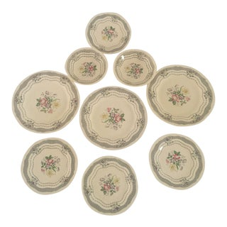 Vintage Cottage Style Floral Mixed Dinnerware - Set of 9
