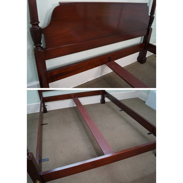 Baker Mahogany Chippendale Style Queen Poster Bed For Sale - Image 5 of 10