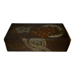 Vintage Wooden Box - Pyro Folk Art - Skeleton Coming Out of the Moon - Circa 1910 For Sale