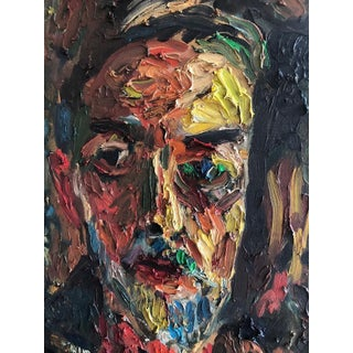 Joe Reno Textural Self Portrait Painting For Sale