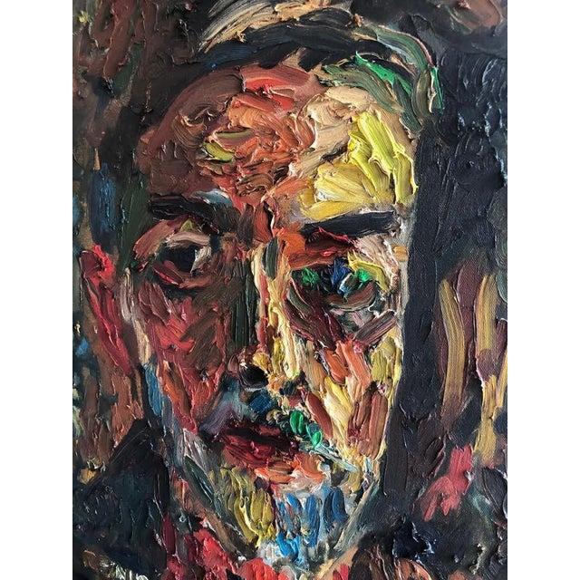 Joe Reno Textural Self Portrait Painting For Sale