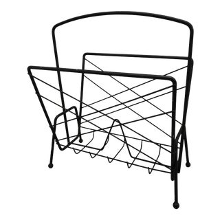 Mid Century Black Magazine Rack For Sale