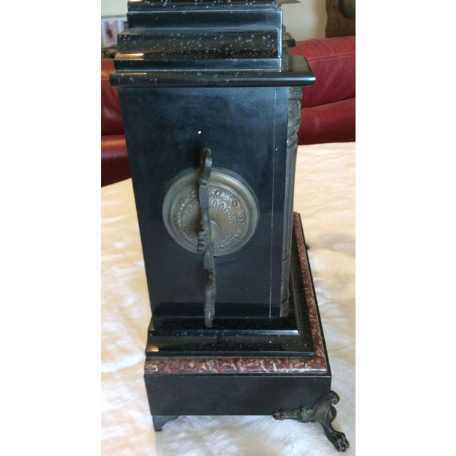 French Black Marble Mantle Clock With Candelabras For Sale - Image 4 of 11