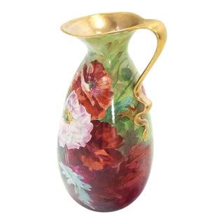Limoges Floral Vase Shape Porcelain Pitcher Flower Painted Artist Signed For Sale