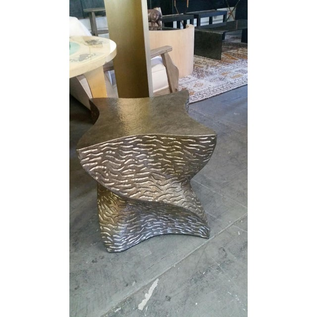 Gold Modern Paul Marra Twist Side Table For Sale - Image 8 of 9