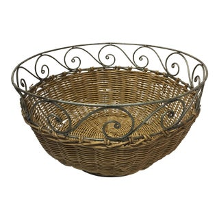 Wire & Wicker Bread Basket For Sale