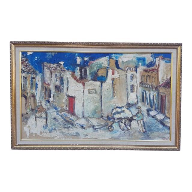 1950's Technique Palette Impasto Cubist Abstract Oil on Canvas Painting For Sale
