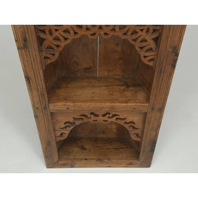 Brown Antique Pine Hanging Shelf Unit, or Open Cupboard For Sale - Image 8 of 9