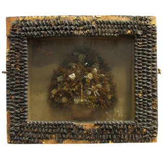 Antique Victorian Dried Flower Basket Diorama For Sale