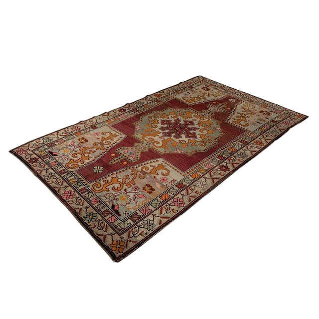 Vintage Red Turkish Area Rug 4'x7' For Sale