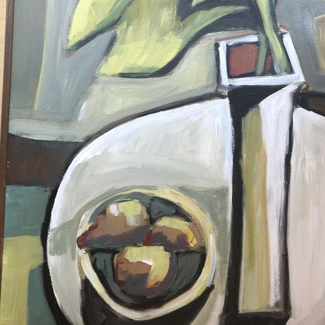 Contemporary Original Contemporary Stewart Ross Modernist Still Life Painting Vintage Frame For Sale - Image 3 of 6