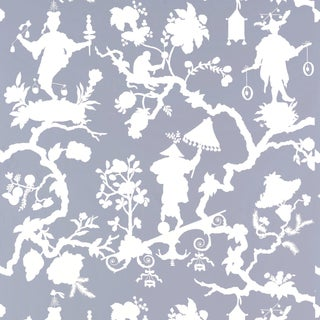 Sample - Schumacher Shantung Silhouette Print Wallpaper in Wisteria For Sale