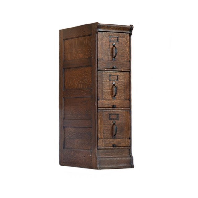 Wood Antique Quartersawn Executive Wooden Filing Cabinet For Sale - Image 7 of 7