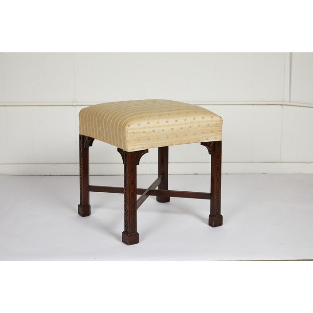 19th Century English Chinese Chippendale Style Mahogany Stool For Sale - Image 5 of 13