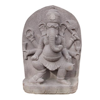 Stone Carved Volcanic Dancing Ganesha For Sale