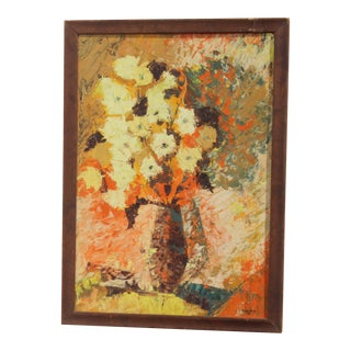 1960s Mid Century Modern Floral Painting For Sale