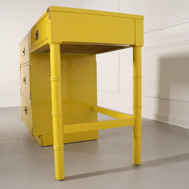Lacquered Bright Yellow Campaign Desk For Sale In Tampa - Image 6 of 10
