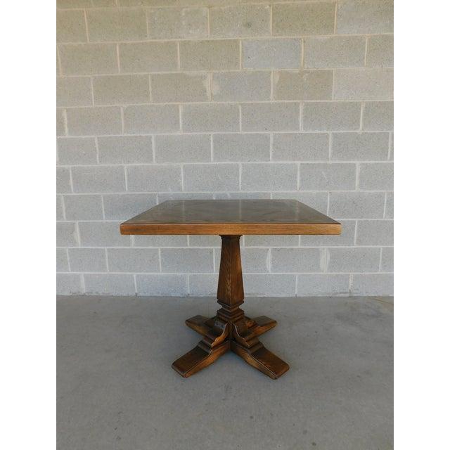 Romweber Viking Oak Pedestal Game or Dinner Table 32 X 32 For Sale In Philadelphia - Image 6 of 9
