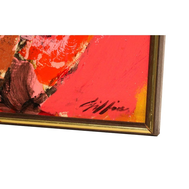 "Mid Century Abstract Expressionist Oil paintings signed ""Griffin"" - a Pair For Sale - Image 4 of 11"