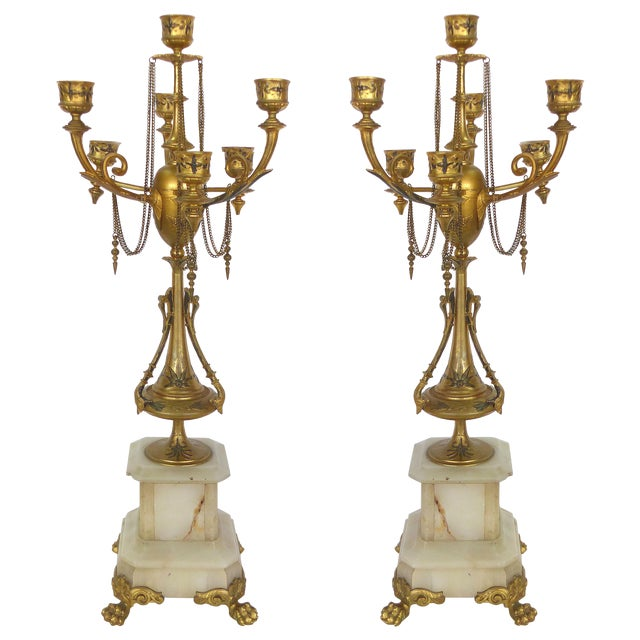 1800s Neoclassical Dore Candelabras - A Pair - Image 1 of 10