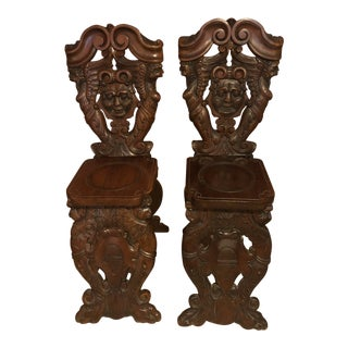 Mid Century Fully Carved Chairs - a Pair For Sale