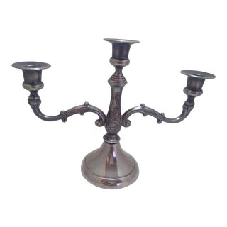 1970s Mid Century Silver Plated 3 Arm Candle Holder For Sale