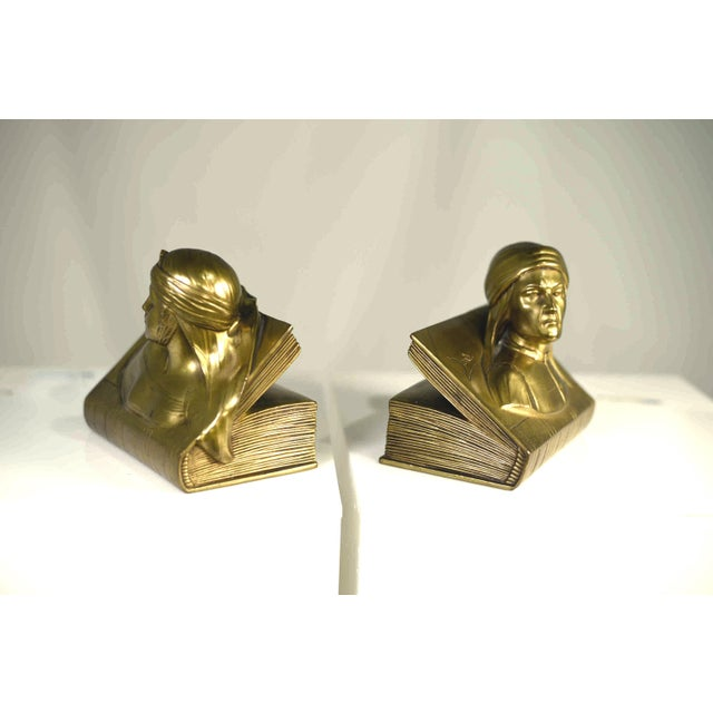 1940s Jennings Bros Dante and Beatrice Golden Bronze Bookends - a Pair For Sale In Chicago - Image 6 of 10