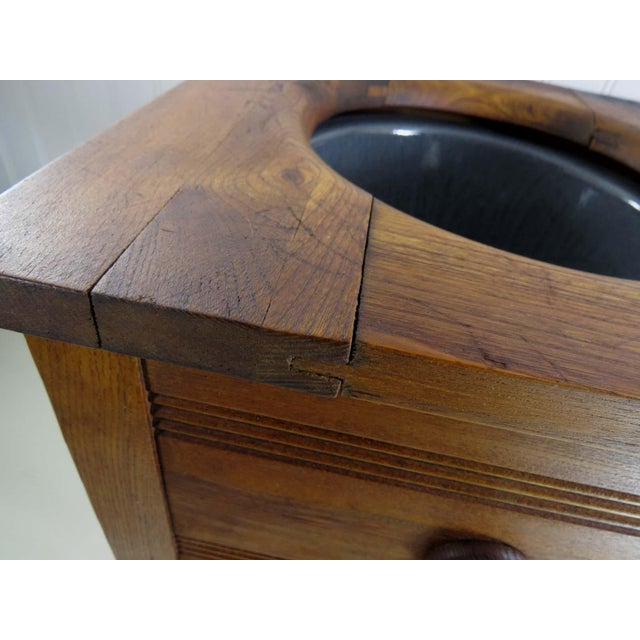 Antique Oak Potty Chair Planter - Image 8 of 10