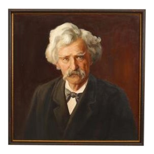 American Victorian style oil painting of Mark Twain in a dark stained frame For Sale
