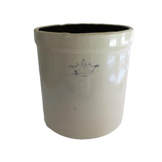 Antique 3 Gallon Stoneware Pottery White and Blue Crown Crock For Sale