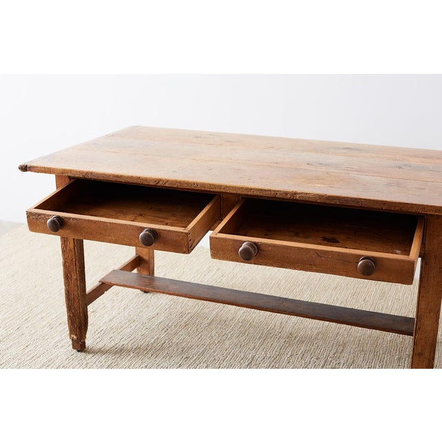 Tan Rustic English Pine Library Table or Farm Table For Sale - Image 8 of 13
