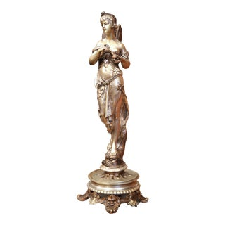 19th Century French Silvered Bronze Statue of a Roman Woman Standing on Dolphin For Sale