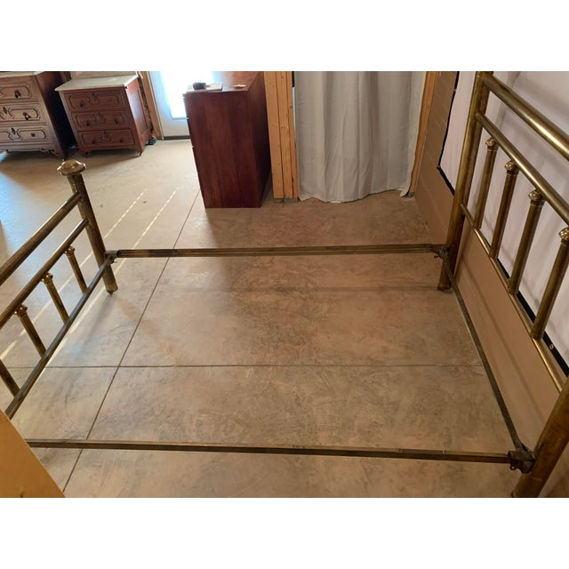 Early 20th Century Brass Low Full Post Bedframe For Sale - Image 10 of 12