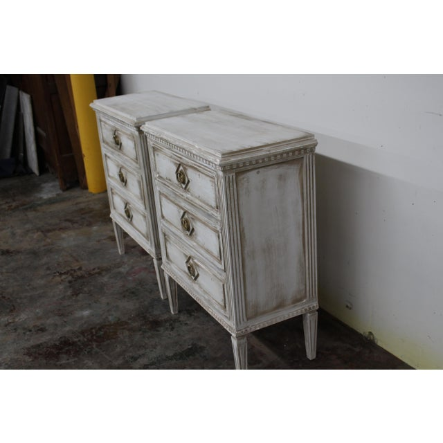 Mid-Century Modern 20th Century Vintage Swedish Gustavian Style Nightstands - a Pair For Sale - Image 3 of 11