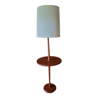 Vintage Danish Modern Teak Floor Lamp With Table and Shade For Sale