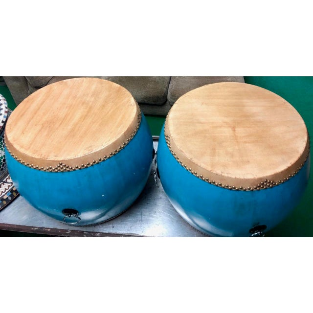 Chinese Turquoise Drums - a Pair For Sale - Image 4 of 6
