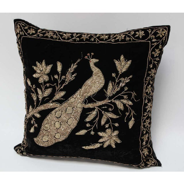 1980s Black Velvet Throw Pillow Embroidered with Metallic Moorish Gold Threads For Sale - Image 5 of 11