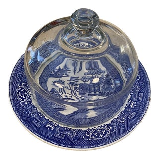 Blue & White Cheese Plate Dome For Sale