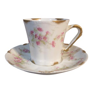 Circa 1903 Theodore Haviland Limoges Schleiger Pink Morning Glories Chocolate Cup & Saucer For Sale
