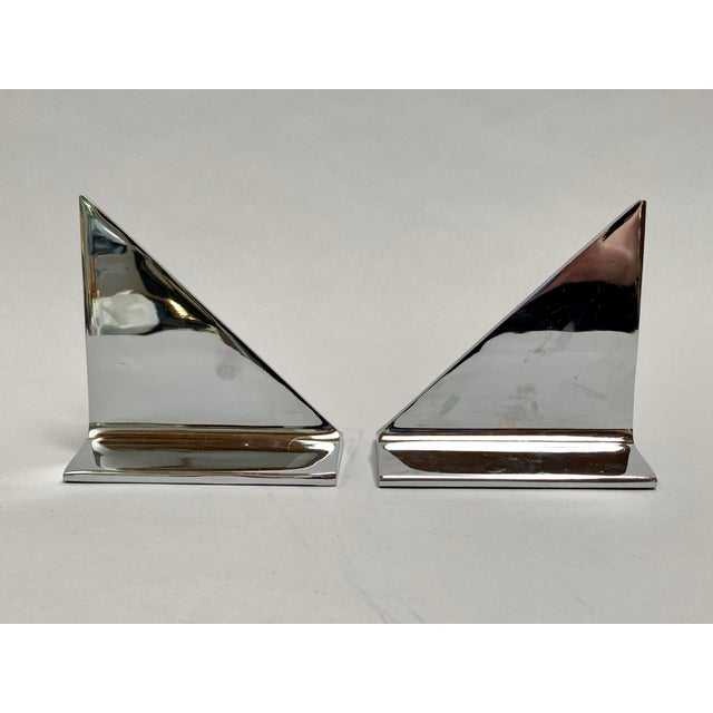 Mid-Century Modern Mid-Century Abstract Modern Chrome Bookends - a Pair For Sale - Image 3 of 13