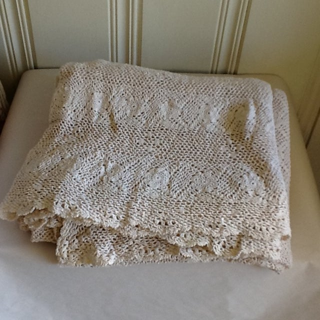 Vintage Boho Crocheted Coverlet or Tablecloth - Image 6 of 11
