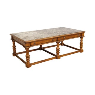 Lexington Palmer Home Gentlemen's Quarters Large Marble Inlay Top Cocktail Table with Drawers For Sale