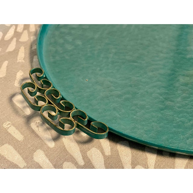 1950s Moiré Glaze Kyes Green California Handmade Tray For Sale - Image 4 of 7