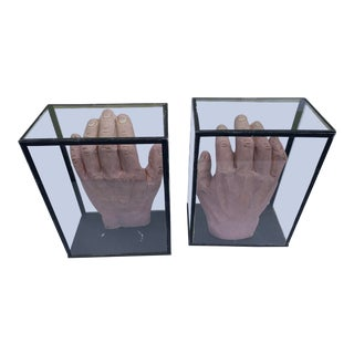 1950s Vintage Educational Model Hands in Glass Display Cabinets - a Pair For Sale