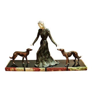 Large Art Deco Sculpture of Bronze Lady With Dogs on Marble Base - Impressive and Important For Sale