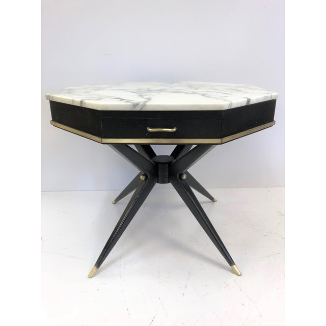 Brass 1950s Italian Marble Top Center Table For Sale - Image 7 of 7