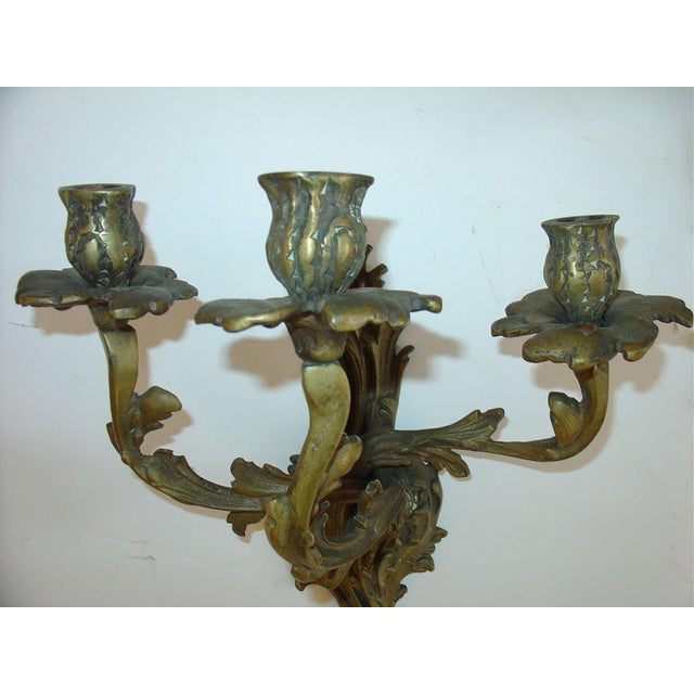 Mid 20th Century French Rococo Louis XV Style Bronze Three-Arm Sconces a Pair For Sale - Image 5 of 9