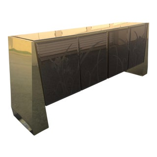 1970s Modern Ello Brass and Bronze Floating Credenza For Sale